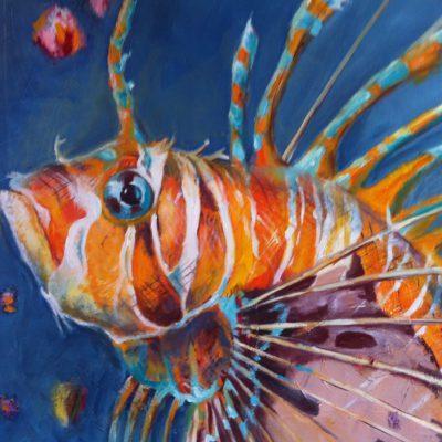 Feuerfisch 80 x 80 cm Öl auf Leinwand
