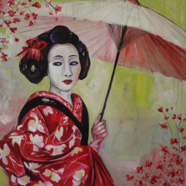 Geisha 1/ 100 x 100 cm/ Öl auf Leinwand