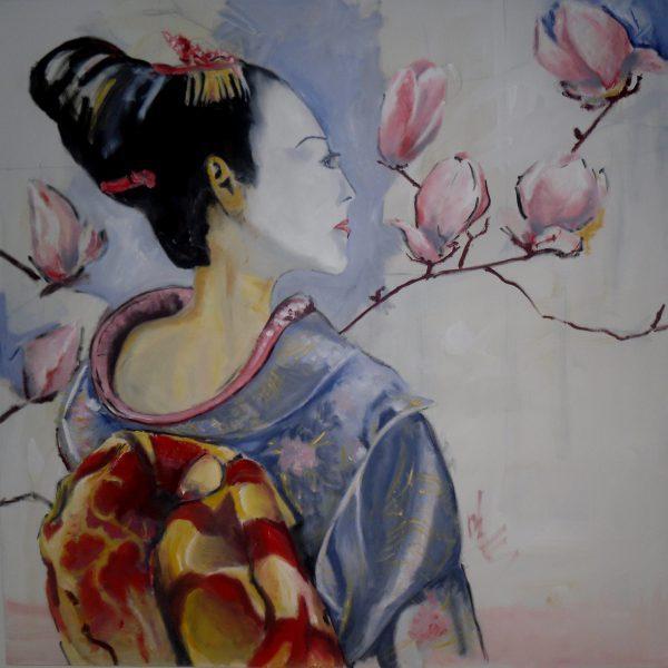 Geisha-2 100 x100 cm Öl auf Leinwand