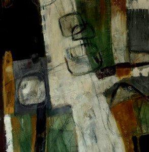 Im Einklang 100 x 100 cm Aromabild Acryl, Kaffee, Sand und Asche
