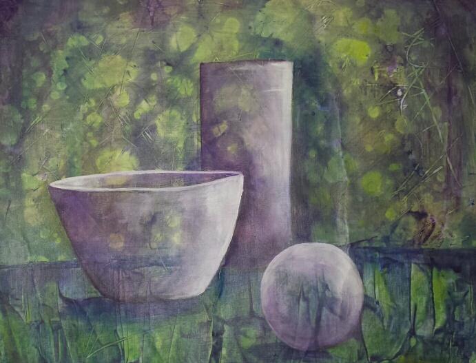 Formsprache Grün 40 x 60 Acryl auf Papier